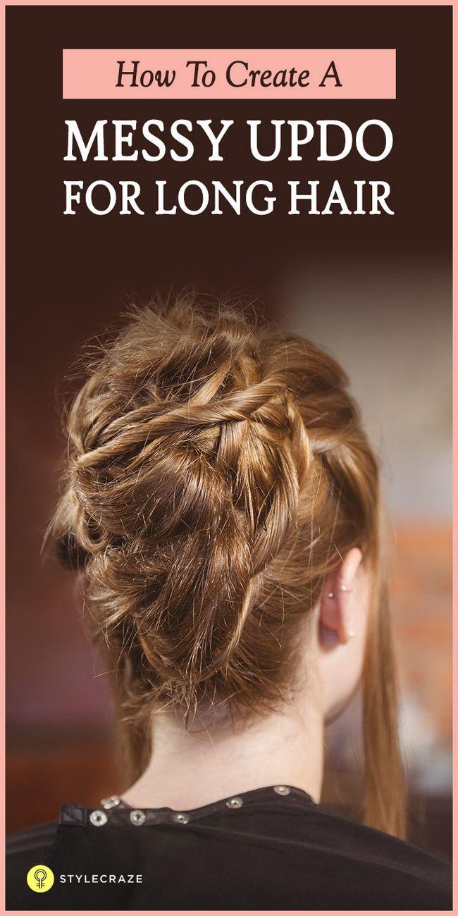 10 Messy updos für langes Haar