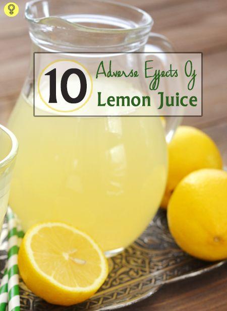10 Nebenwirkungen von Zitronensaft