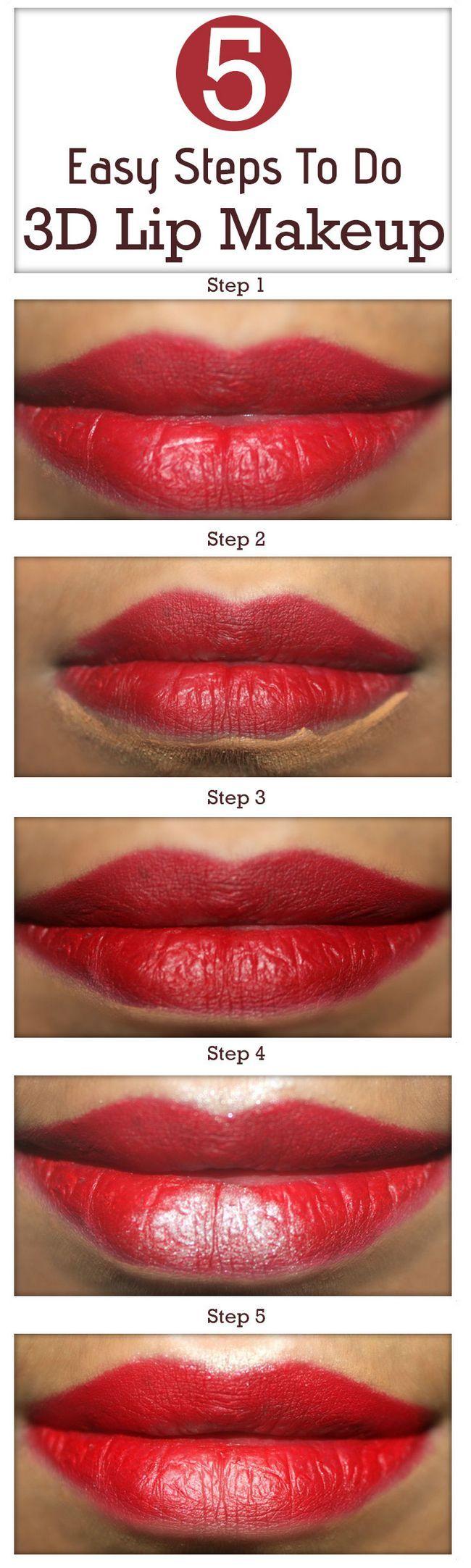 Tutorial mit detaillierten Schritten und Bilder - 5 einfache Schritte 3d Lippe Make-up zu tun