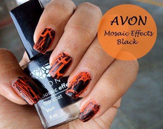 Avon Mosaik Effekte Topcoat Nagellack Bewertung und Muster: schwarz