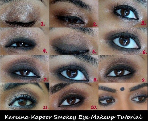 Promi-Make-up-Serie: kareena kapoor inspiriert rauchigen Augen Make-up Tutorial Schritt für Schritt