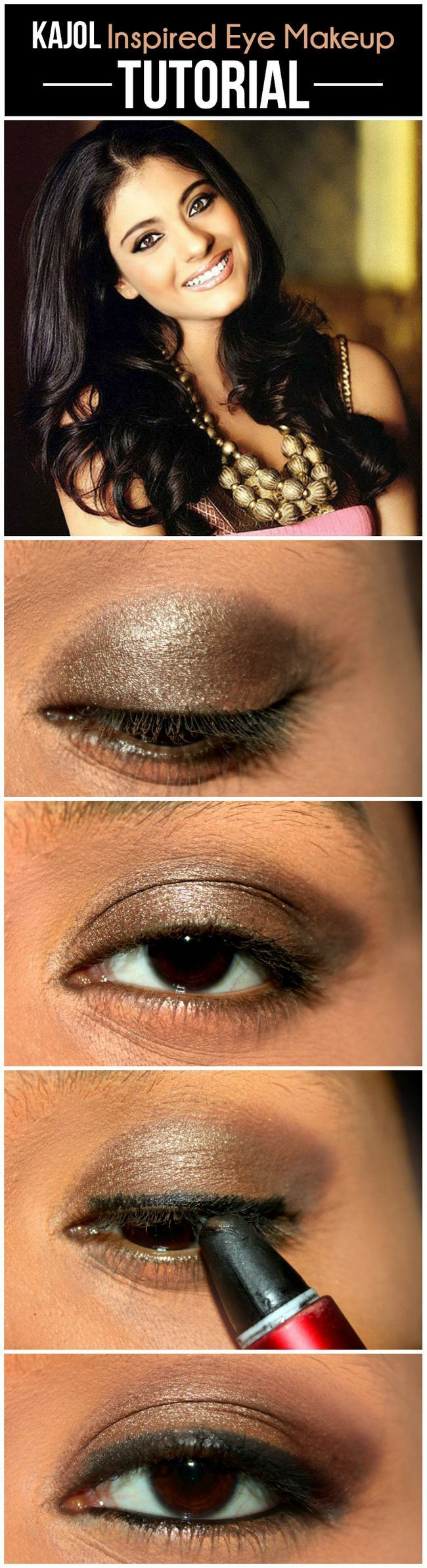 Kajol inspiriert Augen Make-up - Tutorial mit detaillierten Schritte und Bilder