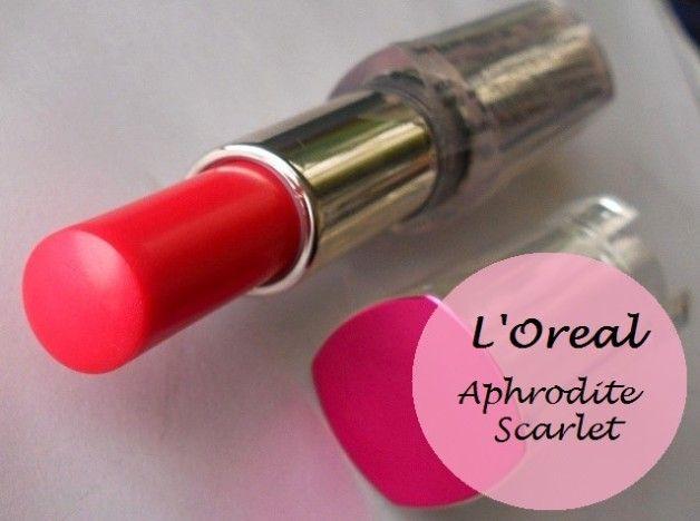 L`Oreal Paris rouge caresse Lippenstift aphrodite Scharlach: Überprüfung und Muster