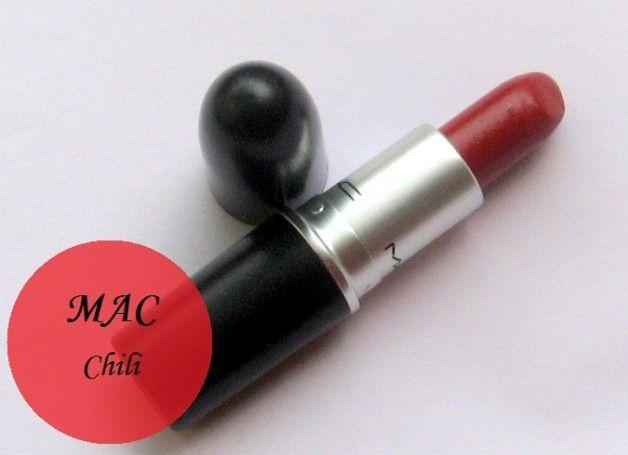 Mac Chili matte Lippenstiftmuster und Bewertung