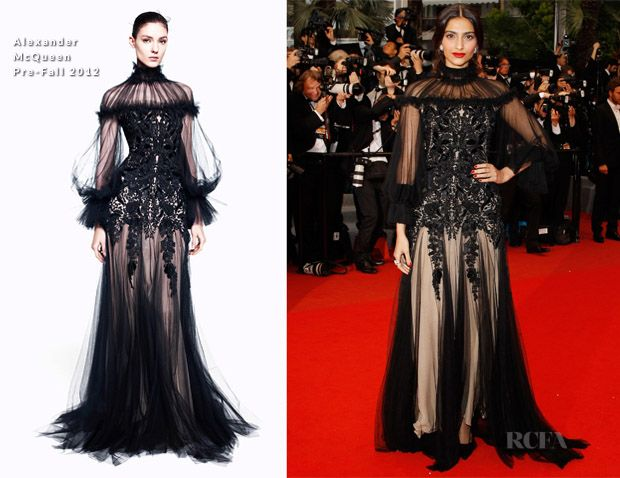 Sonam kapoor CANNES 2012: alexander mcqueen Kleid, Make-up-Zusammenbruch